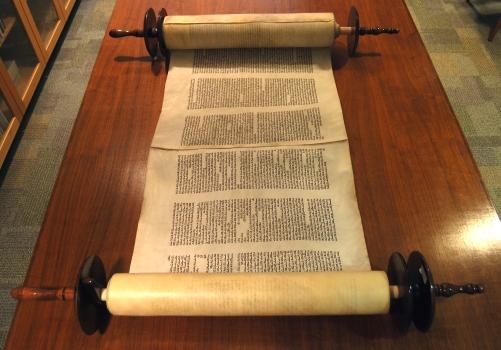 Kenyon's Torah, donated by Deborah and Michael Salzburg in 2007.