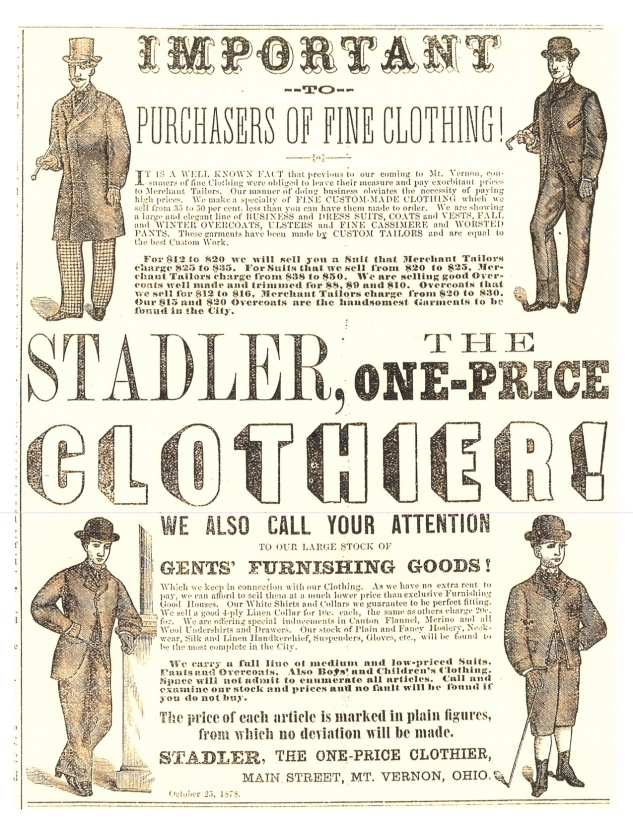 Advertisement by clothier Aaron Stadler of Mount Vernon, Ohio. Stadler was one of the first area businessmen to use graphics in his advertisements, in both the Democratic Banner and the Republican newspapers.
