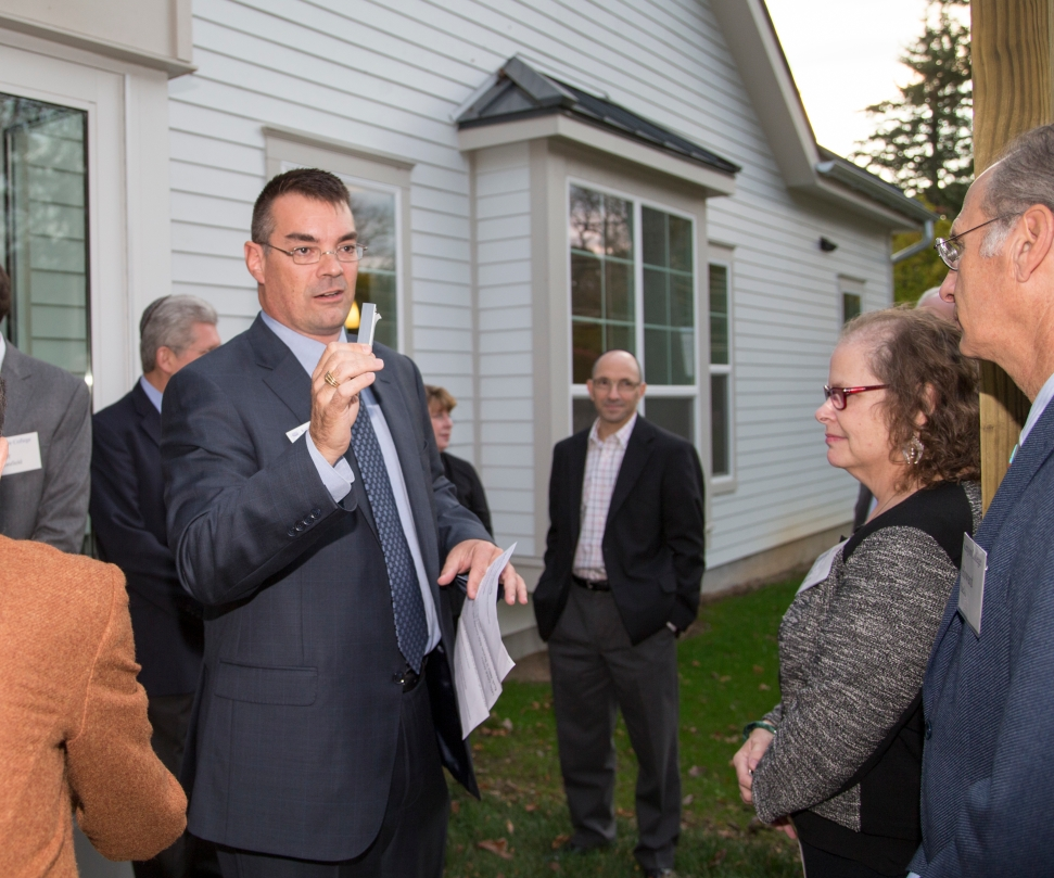 Kenyon Hillel director Marc Bragin at the ceremony dedicating the Rothenberg Hillel House at Kenyon College, October 24, 2014.