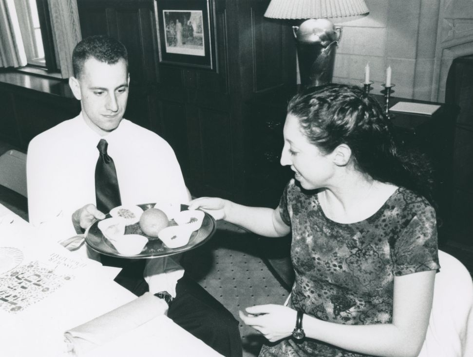Students celebrate Passover in Peirce Lounge, undated.