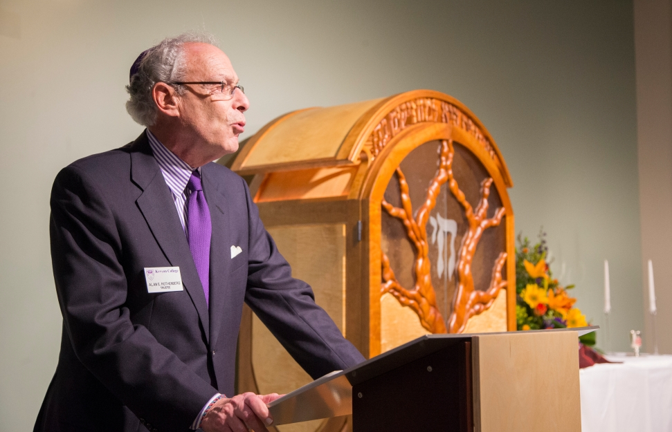Kenyon trustee Alan Rothenberg speaking at the ceremony dedicating the Rothenberg Hillel House at Kenyon College, October 24, 2014.