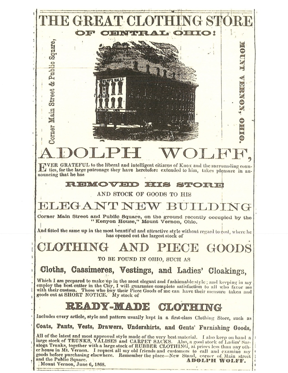 Typical advertisement for Adolph Wolff's store, Mount Vernon Democratic Banner.
